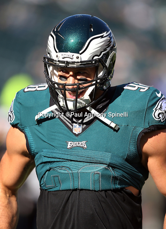 Philadelphia Eagles outside linebacker Connor Barwin (98) looks on during the 2015 week 10 regular season NFL football game against the Miami Dolphins on Sunday, Nov. 15, 2015 in Philadelphia. The Dolphins won the game 20-19. (©Paul Anthony Spinelli)