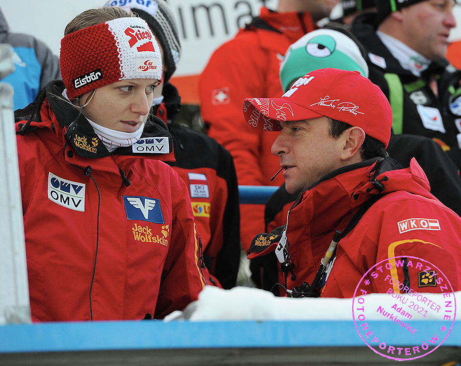 Zakopane 21.01.2012.FIS World Cup Ski Jumping .Zakopane 2012.ALEXANDER POITNER TRAINER COACH OF AUSTRIA TEAM & (R) PHYSIOTERAPIST SILVIA STOETTINGER FROM AUSTRIA.Photo by: Piotr Hawalej *** POLAND ONLY !!! ***.