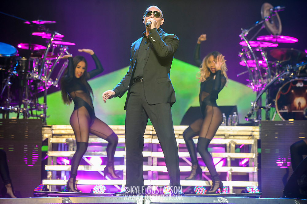 "WASHINGTON, DC - September 13, 2014 - Pitbull performs at the Verizon Center in Washington, D.C. The rapper, who's hits include the #1 singles ""Give Me Everything"" and ""Timber"", will release his eighth studio album, later this year. (Photo by Kyle Gustafson / For The Washington post)"