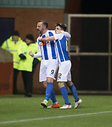 13th February 2018, Rugby Park, Kilmarnock, Scotland; Scottish Premiership football, Kilmarnock versus Dundee; Kris Boyd of Kilmarnock  is congratulated after scoring for 2-2 by Greg Taylor
