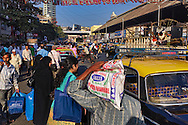 A busy street, Lokmanya Tilak Marg, near Crawford Market in Mumbai.