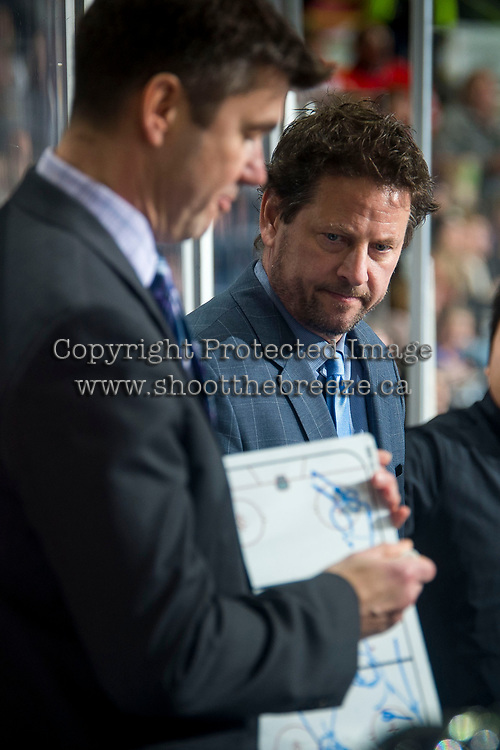 KELOWNA, BC - JANUARY 4: Vancouver Giants' assistant coach Dave Chyzowski stands on the bench against the Kelowna Rockets at Prospera Place on January 4, 2020 in Kelowna, Canada. (Photo by Marissa Baecker/Shoot the Breeze)