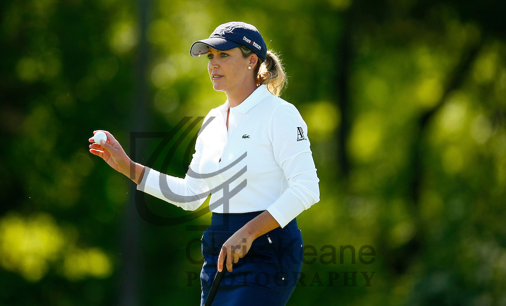 17 May 2012: Cristie Kerr waves after making her putt on the 17th hole during the first round of match play at the Sybase Match Play Championship at Hamilton Farm Golf Club in Gladstone, New Jersey on May 17, 2012.  (Photo by Chris Keane - www.chriskeane.com)