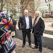 Monacan Chief, Dean Branham, left, and Terry Pierce after the dedication ceremony for Mantle: Virginia Indian Tribute, a monument designed on Virginia State Capitol Square, in Richmond, Virginia, on Tuesday, April 17, 2018. John Boal Photography