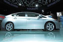 11 February 2009:  2009 TOYOTA PRIUS: With the redone 2010 Prius to be on display at the Chicago Auto Show, the unchanged '09 model is much like it has been. Rated the best-selling gas-electric hybrid vehicle in the United States and the world, Prius seats five passengers and can achieve 650 miles between fill-up. The Prius Hybrid Synergy Drive combines a 1.5-liter four-cylinder Atkinson Cycle gasoline engine and an electric drive motor. The gasoline engine uses variable valve timing, produces 76 horsepower, and when combined with the permanent-magnet electric drive motor, generates a total of 110 horses. All models come standard with an electronically controlled planetary gear-type continuously variable transmission. The upgraded Touring Edition offers European-inspired suspension and 16-inch alloy wheels, a larger rear spoiler, High Intensity Discharge (HID) headlamps and integrated fog lamps. PriusÕ liftback design, combined with the 60/40 split fold-down rear seatbacks, provides 14.4 cubic feet of cargo room.. The Chicago Auto Show is a charity event of the Chicago Automobile Trade Association (CATA) and is held annually at McCormick Place in Chicago Illinois.