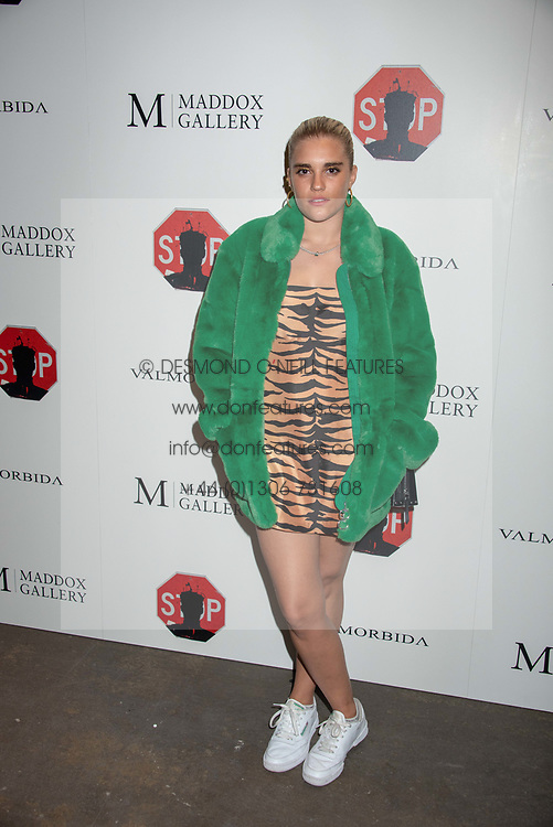 Tigerlily Taylor at 'Shadowman' Richard Hambleton Private View and After Party hosted by Andy Valmorbida and Maddox Gallery, held at 26 Leake Street Tunnels, London SE1 England. 12 September 2018.