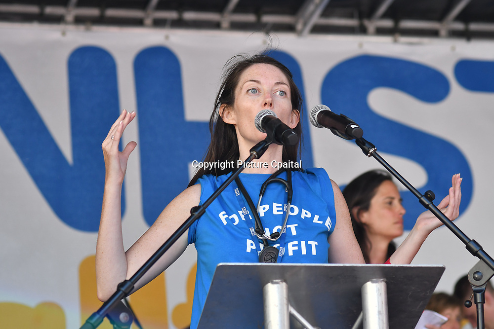 Aislinn Macklin at Whitehall rally NHS at 70: Free, for all, forever on June 30th, 2018.