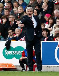Stoke City Manager, Mark Hughes shouts directions - Photo mandatory by-line: Matt Bunn/JMP - Tel: Mobile: 07966 386802 19/10/2013 - SPORT - FOOTBALL - Britannia Stadium - Stoke-On-Trent - Stoke City V West Brom - Barclays Premier League