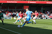 Luke Varney pulls back the ball for Ryan Broom to score  during the EFL Sky Bet League 2 match between Salford City and Cheltenham Town at Moor Lane, Salford, United Kingdom on 14 September 2019.
