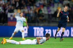 Milivoje Novakovic of Slovenia and referee Wolfgang Stark of Germany shows that is no penalty during football match between National teams of Slovenia and Switzerland at Round 2 of Euro 2016 Qualifications, on October 9, 2014 in Stadium Ljudski vrt, Maribor, Slovenia. Photo by Matic Klansek Velej / Sportida.com