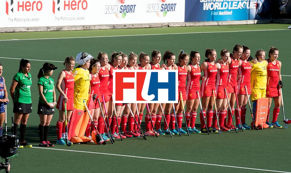 AUCKLAND - Sentinel Hockey World League final women<br /> Match id: 10304<br /> 15 USA v ENG (QF)<br /> Foto: LIne up England.<br /> WORLDSPORTPICS COPYRIGHT FRANK UIJLENBROEK