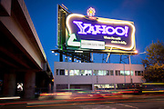 San Francisco, California, USA - November 22, 2011 : The flashy Yahoo neon sign which has stood for a dozen years is coming down.  Clear Channel manages the sign and has announced that the space is avaiable for rent starting in December at $80,000 a month with neon hookups and $65,000 without.