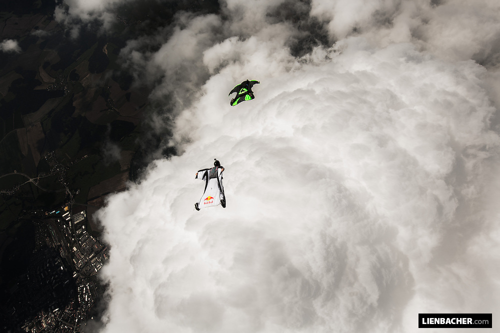 Dominic Roithmair from the Red Bull Skydive Team chasing Philip Ribis in his wingsuit over Klatovy