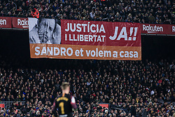February 6, 2019 - Barcelona, Spain - Fans protesting in favour of ex FC Barcelona president Sandro Rosell during the semi-final first leg of Spanish King Cup / Copa del Rey football match between FC Barcelona and Real Madrid on 04 of February of 2019 at Camp Nou stadium in Barcelona, Spain  (Credit Image: © Xavier Bonilla/NurPhoto via ZUMA Press)