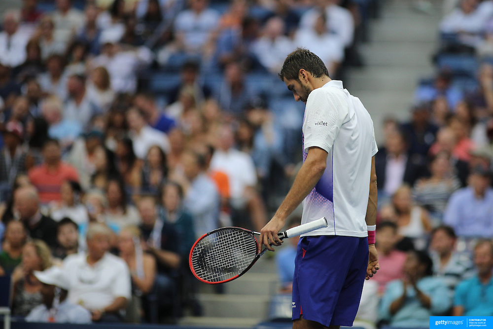 Marin Cilic, Croatia, during his loss to Novak Djokovic, Serbia,in the Men's Singles Semifinals during the US Open Tennis Tournament, Flushing, New York, USA. 11th September 2015. Photo Tim Clayton