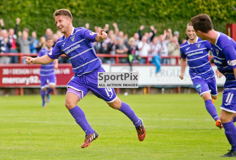 Brechin City v Dunfermline Athletic SPFL League One Season 2015/16 Glebe Park 08 August 2015<br /> Josh Falkingham celebrates the 6th goal   <br /> CRAIG BROWN | sportPix.org.uk