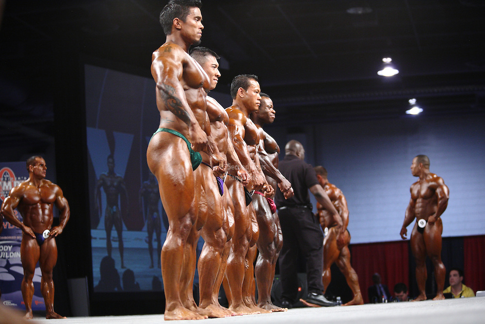On stage at the pre-judging for the 2009 Olympia 202 competition in Las Vegas.