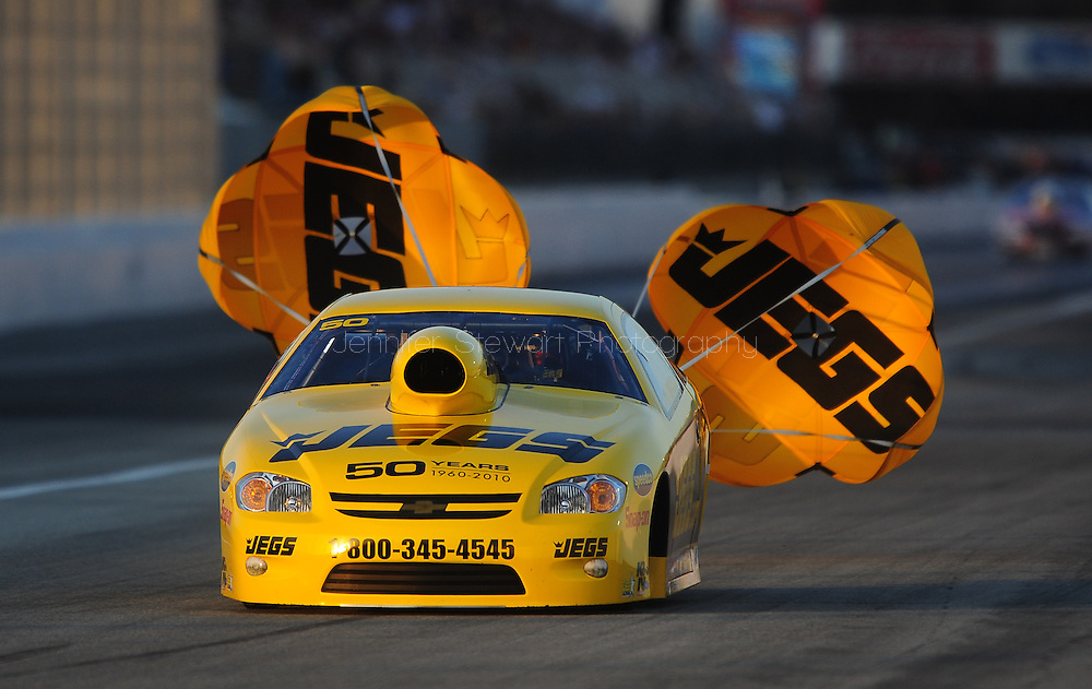 Feb. 13, 2010; Pomona, CA, USA; NHRA pro stock driver Jeg Coughlin during qualifying at the Kragen O'Reilly Winternationals at Auto Club Raceway. Mandatory Credit: Jennifer Stewart-US PRESSWIRE