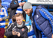 Sheffield Wednesday Forward Atdhe Nuhiu poses for a selfie during the Sky Bet Championship match between Reading and Sheffield Wednesday at the Madejski Stadium, Reading, England on 23 January 2016. Photo by Adam Rivers.