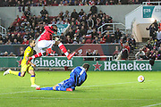 Bristol City's Jonathan Kodjia has an attempt on goal during the Sky Bet Championship match between Bristol City and Leeds United at Ashton Gate, Bristol, England on 19 August 2015. Photo by Shane Healey.