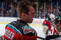 KELOWNA, CANADA - OCTOBER 27: Erik Gardiner #12 of  the Kelowna Rockets reacts to pain after colliding with the puck against the Tri-City Americans on October 27, 2017 at Prospera Place in Kelowna, British Columbia, Canada.  (Photo by Marissa Baecker/Shoot the Breeze)  *** Local Caption ***