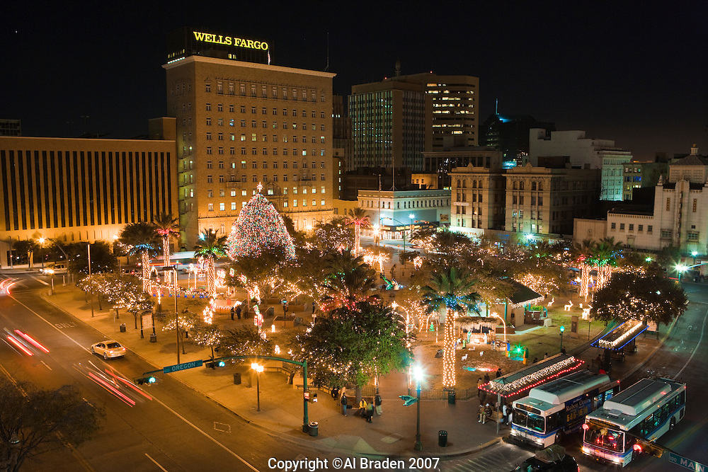 Christmas lights at San Jacinto Plaza, the heart of downtown, El Paso,  Texas. - Christmas Lights At San Jacinto Plaza, The Heart Of Downtown, El