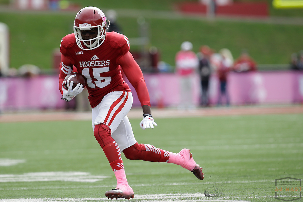 04 October 2014: Indiana Hoosiers wide receiver Isaiah Roundtree (15)  as the Indiana Hoosiers played North Texas in a NCAA college football game in Bloomington, IN.
