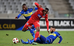 Cape Town-180804 Supersport striker Evans Rusike challenged by Cape Town City midfielder Riyaad Norodien in the first game of the 2018/2019 season at Cape Town Stadium.photograph:Phando Jikelo/African News Agency/ANAr