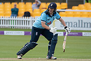 Anya Shrubsole batting during the Royal London Women's One Day International match between England Women Cricket and Australia at the Fischer County Ground, Grace Road, Leicester, United Kingdom on 2 July 2019.