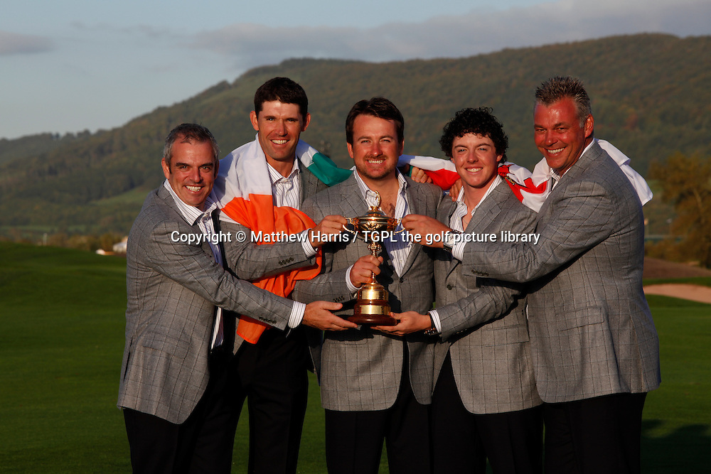 The full Irish team representation were Paul MCGINLEY (IRE),assistant,Padraig HARRINGTON (IRE),Graeme MCDOWELL (NIR),Rory MCILROY (NIR) and assistant Darren CLARKE (NIR) with the Ryder Cup Session Four_Singles during Ryder Cup 2010,Celtic Manor,Newport,Wales.