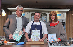 James and Patricia Doherty with Neven Maguire as he entertained the audience at the Cookery demonstration in aid of the Aoife Beary fund at Hotel Westport on friday evening.Pic Conor McKeown