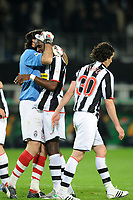 Fotball<br /> Italia<br /> Foto: Inside/Digitalsport<br /> NORWAY ONLY<br /> <br /> 12.04.2008<br /> <br /> Gianluigi Buffon (Juventus) celebrates at the end of the match with Momo Sissoko and Cardoso Mendes Tiago <br /> <br /> Juventus v Milan (3-2)