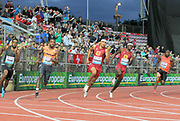 Noah Lyles (USA), second fro left, wins the 200m in 19.69 during the 2018 Athletissima in an IAAF Diamond League meeting at Stade Olympique de la Pontaise in Lausanne, Switzerland on Thursday, July 5, 2018. From left: Isiah Young (USA) Lyles, Michael Norma (USA), Rai Benjamin (ANT) and Alex Wilson (SUI). (Jiro Mochizuki/Image of Sport)