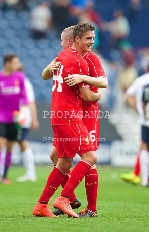 PRESTON, ENGLAND - Saturday, July 19, 2014: Liverpool's match-winning goalscorer Kristoffer Pieterson celebrates after a preseason friendly match against Preston North End at Deepdale Stadium. (Pic by David Rawcliffe/Propaganda)