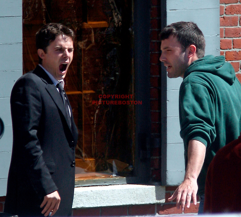 Ben Affleck and Casey Affleck in and around Boston,Mass. Filming and acting. Photo by Mark Garfinkel