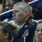 Sergeant First Class Jarvis Kettlehake attends graduations made up of 464 students during William Penn 93rd commencement exercises Monday, June 08, 2015, at The Bob Carpenter Sports Convocation Center in Newark, Delaware.