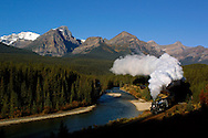The debut run of the restored CPR Empress Steam Engine at Morant's Curve near Lake Louise, AB