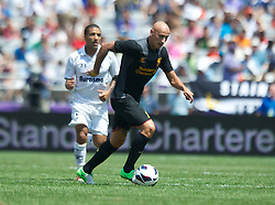 BALTIMORE, MD - Saturday, July 28, 2012: Liverpool's Jonjo Shelvey in action against Tottenham Hotspur during a pre-season friendly match at the M&T Bank Stadium. (Pic by David Rawcliffe/Propaganda)