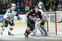 KELOWNA, CANADA, JANUARY 1: Cody Sylvester #16 of the Calgary Hitmen skates on the ice as the Calgary Hitmen visit the Kelowna Rockets on January 1, 2012 at Prospera Place in Kelowna, British Columbia, Canada (Photo by Marissa Baecker/Getty Images) *** Local Caption ***