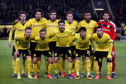 18.02.2016, Signal Iduna Stadion, Dortmund, GER, UEFA EL, Borussia Dortmund vs FC Porto, Sechzehntelfinale, Hinspiel, im Bild v.o.l.: Julian Weigl (#33, Borussia Dortmund), Mats Hummels (#15, Borussia Dortmund), Sokratis Papastathopoulos (#25, Borussia Dortmund), Lukasz Piszczek (#26, Borussia Dortmund), Pierre-Emerick Aubameyang (#17, Borussia Dortmund), Roman Buerki (#38, TW, Borussia Dortmund), Marco Reus (#11, Borussia Dortmund), Marcel Schmelzer (#29, Borussia Dortmund), Nuri Sahin (#18, Borussia Dortmund), Shiji Kagawa (#23, Borussia Dortmund) und Henrikh Mkhitaryan (#10, Borussia Dortmund) // during the UEFA Europa League Round of 32, 1st Leg match between Borussia Dortmund and FC Porto at the Signal Iduna Stadion in Dortmund, Germany on 2016/02/18. EXPA Pictures © 2016, PhotoCredit: EXPA/ Eibner-Pressefoto/ Deutzmann<br /> <br /> *****ATTENTION - OUT of GER*****