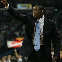 New York Knicks head coach Isaiah Thomas yells out instructions from the bench against the New Orleans Hornets  in the second quarter of their NBA game on April 4, 2008 at the New Orleans Arena in New Orleans, Louisiana.
