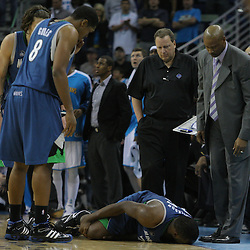 08 February 2009: center Al Jefferson (25) lies on the ground after he was injured on a play during a 101-97 win by the New Orleans Hornets over the Minnesota Timberwolves at the New Orleans Arena in New Orleans, LA.
