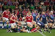Rory Best (Lions) offloads during the tour match of the 2013 British And Irish Lions Australian Tour between RaboDirect Melbourne Rebels vs British And Irish Lions at AAMI Park, Melbourne, Victoria, Australia. 25/06/0213. Photo By Lucas Wroe