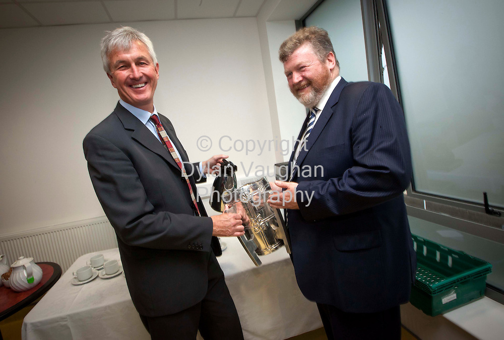 30/9/2011.No Charge for repro.Dr James Reilly TD Minister for Health pictured with Dr Bill Cuddihy G.P Ayrfield Medical Park and Primary Care Centre and the Liam McCarthy Cup at the opening of the Ayrfield Medical Park and Primary Care Centre, in Kilkenny. .Picture Dylan Vaughan.
