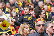 A young Watford fan enjoying the occasion during the The FA Cup match between Crystal Palace and Watford at Wembley Stadium, London, England on 24 April 2016. Photo by Shane Healey.
