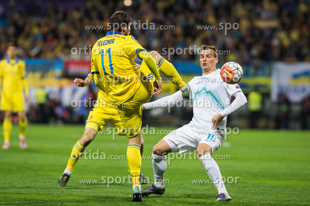 Yevhen Selezyov of Ukraine vs Nejc Pecnik of Slovenia during the UEFA EURO 2016 Play-off for Final Tournament, Second leg between Slovenia and Ukraine, on November 17, 2015 in Stadium Ljudski vrt, Maribor, Slovenia. Photo by Ziga Zupan / Sportida