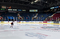 KELOWNA, BC - NOVEMBER 8: Teague Patton #39 of the Medicine Hat Tigers enters the ice for warm up with a solo lap against the Kelowna Rockets for his first WHL career game at Prospera Place on November 8, 2019 in Kelowna, Canada. (Photo by Marissa Baecker/Shoot the Breeze)