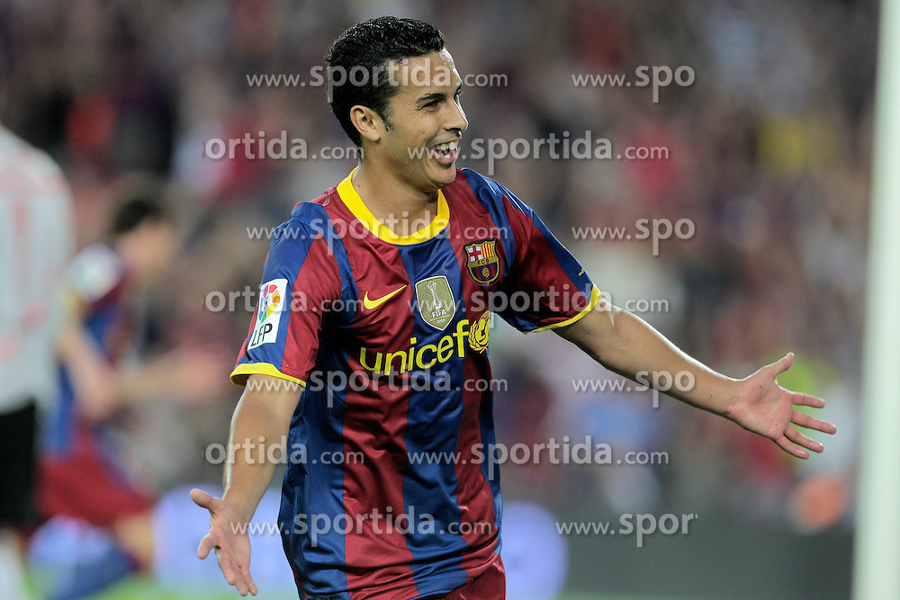 21.08.2010, Stadion Camp Nou, Barcelona, ESP, Supercup, FC Barcelona vs FC Sevilla, im Bild FC Barcelona's Pedro Rodriguez celebrates goal during SuperCup of Spain Final match. EXPA Pictures © 2010, PhotoCredit: EXPA/ Alterphotos/ Acero +++++ ATTENTION - OUT OF SPAIN / ESP +++++ / SPORTIDA PHOTO AGENCY