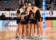 Magic team huddle during the ANZ Premiership netball match - Magic v Tactix played at Claudelands Arena, Hamilton, New Zealand on 30 July 2018.<br /> <br /> Copyright photo: &copy; Bruce Lim / www.photosport.nz