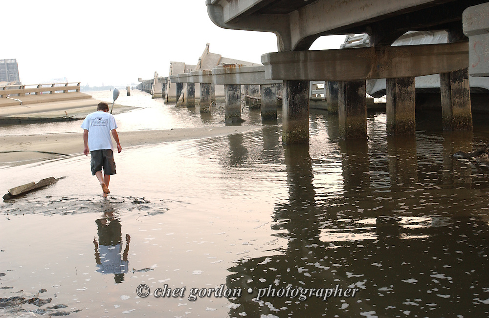 Causeway Route 90 bridge between Biloxi and Gulfport, MS destroyed by Hurricane Katrina seen on Monday, June 26, 2006. Hurricane Katrina struck the Gulf states 10 months ago.